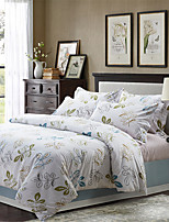 H&C 100% Cotton 600TC Duvet Cover Set 4-Piece Green And Blue Flowers Pattern White Background  XB2-009