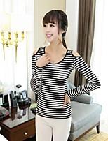 Women's Striped Black T-shirt , Round Neck Long Sleeve