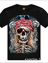 Men's 3D O-Neck Short-sleeve Skull Printing T-Shirt (Cotton)