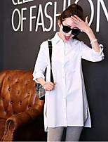 Women's Casual Micro-elastic Long Sleeve Long Shirt (Cotton Blends)