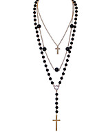 Women's European Style Retro Fashion Long Multilayer Cross Necklace With Imitation Pearl