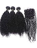 4pcs / lot malaisien vierge de cheveux 100% cheveux remy malaisienne vague crépus 8