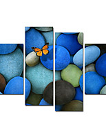 VISUAL STAR®Butterflies Contemporary Wall Art Blue Stone Canvas Printing Ready to Hang