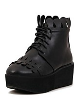 Damesschoenen Imitatieleer Platform Modieuze laarzen Laarzen Casual Zwart/Wit