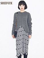 Women's Casual/Lace/Cute Stretchy Medium Long Sleeve Dress (Lace/Knitwear)SF7D25