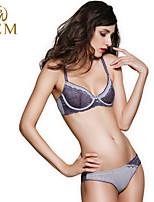 GEM Women Polyester Lace Bras/Underwire Bra Demi-cup Bras & Panties Sets
