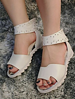 Women's Shoes  Flat Heel Closed Toe Sandals Casual White/Silver