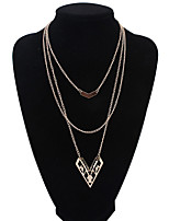 Women's European Style Fashion Wild Hollow Multilayer Heart Alloy Necklace