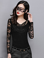 Women's Solid/Patchwork/Lace White/Black Blouse , V Neck ½ Length Sleeve Lace/Hollow Out