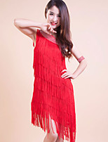 Latin Dance Outfits/Dresses Women's/Children's Performance/Training Polyester Tassel(s) 1 Piece Red