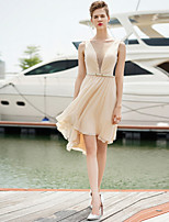 Cocktail Party Dress Sheath/Column Jewel Short/Mini Chiffon Dress