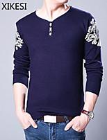 Men's Casual/Work Pure Long Sleeve Regular Pullover (Knitwear) XKS7D05
