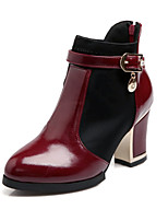 Women's Shoes Patent Leather Chunky Heel Fashion Boots/Round Toe Boots Office & Career/Dress/Casual Black/White/Burgundy
