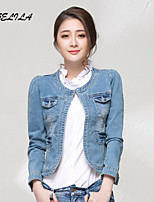 Women's Round Collar Casual Slim Long Sleeve Short Jeans Coat