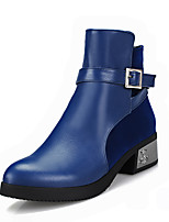 Women's Shoes Chunky Heel Fashion Boots/Pointed Toe Boots Dress/Casual Black/Blue/Red