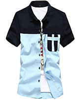Men's Short Sleeve Top , Denim Casual