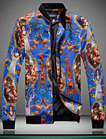 Men's Long Sleeve Jacket , Cotton/Polyester Casual/Work/Formal/Sport/Plus Sizes Print/Striped/Pure