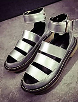 Women's Shoes Faux Leather Flat Heel Peep Toe Sandals Casual Black/Silver