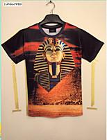 Men's 3D Graphic Print Egypt King Tut Pharaoh Face Round Top T-shirt(M-XXL)