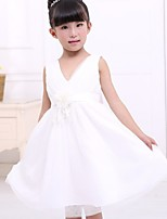 Girl's Mesh/Satin Dress , All Seasons Sleeveless