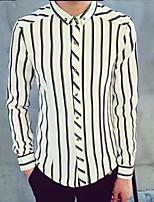 Men's Casual Striped Long Sleeve Regular Shirt (Cotton)