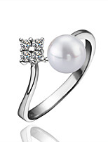 Fashion Round Copper White Gold Plated Pearl Party Ring(White Gold)(1Pc)