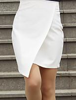 Women's Bodycon/Work Asymmetrical Skirts , Twill Inelastic