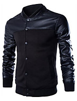 Men's Casual/Plus Sizes Print Long Sleeve Regular Jacket (Cotton Blend/PU)