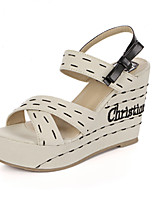 Women's Shoes Fabric Wedge Heel Wedges Sandals Casual Beige
