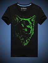 CliffWalker Men's Casual Black Wolf Printed Glowing-in-the-dark Round Short Sleeve Luminous T-Shirts