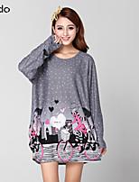 Damen T-Shirt Acryl/Baumwoll-Mischung Langarm