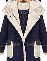 Women's Patchwork Blue/Brown Parka Coat , Casual/Plus Sizes Hooded Long Sleeve Pocket