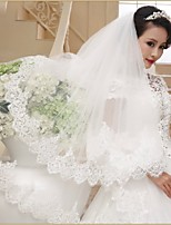 Wedding Veil Two-tier Fingertip Veils Lace Applique Edge
