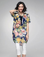 Women's Print Multi-color Blouse , V Neck Short Sleeve Embroidery