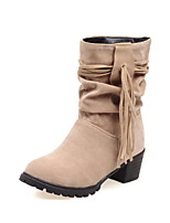 Women's Shoes Fleece Chunky Heel Fashion Boots/Round Toe Boots Dress Black/Red/Beige