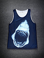 European Style Double Net Hole Vest Digital Printing 3D Sleeveless Shark Harajuku Vest
