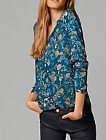 Women's Vintage Casual Print Micro-elastic Long Sleeve Short T-shirt (Cotton)