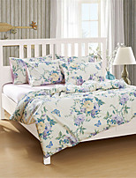 H&C 100% Cotton 1200TC Duvet Cover Set 4-Piece Purple And Yellow Flowers Green Leaves Pattern White Background  HT-005