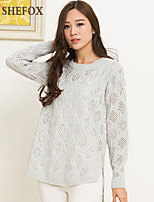 Women's Casual Stretchy Medium Long Sleeve Pullover (Knitwear)SF7D16