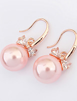 Women's European Style Fashion Bow Imitation Pearl Zircon Alloy Drop Earrings
