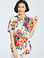 Women's Floral Multi-color Blouse , Stand Short Sleeve Flower