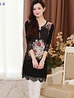 Women's Floral/Print/Patchwork/Lace Multi-color T-shirt , Round Neck Long Sleeve Lace/Flower
