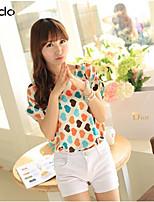 Women's Multi-color Blouse , Round Neck Short Sleeve