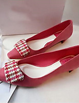 Women's Shoes Fleece Low Heel Square Toe Pumps/Heels Casual Black/Blue/Pink/Gray