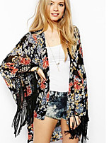 Women's Print Multi-color Blouse ¾ Sleeve Tassel/Flower