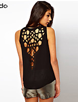 Women's Solid Orange/Black T-shirt Sleeveless Hollow Out