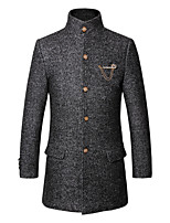 Men's Long Sleeve Long Trench coat , Cotton/Polyester/Wool Pure