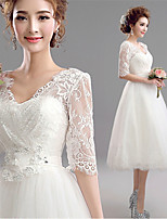 A-line Tea-length Wedding Dress - V-neck Tulle