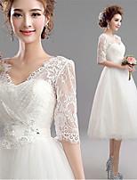 A ライン ウェディングドレス ホワイト チュール Vネック セミロング丈