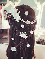 Bride's Flower Shape Pearl Rhinestone Forehead Wedding Comb Headdress 1 PC